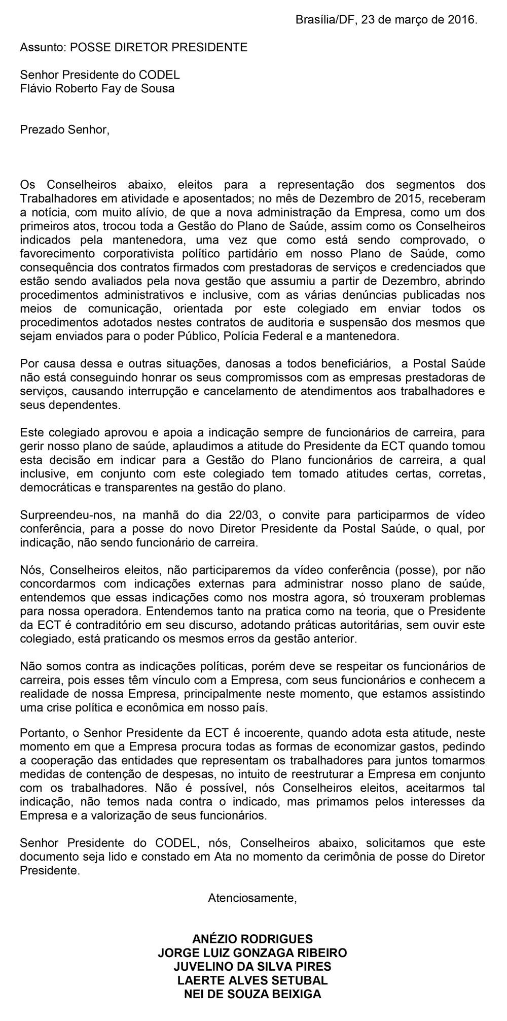carta_nomeacao_diretor_presidente_PostalSaude
