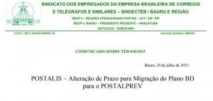 POSTALIS: Migração para PostalPrev – Comunicado importante aos assistidos pela ação do SINDECTEB