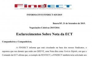 Negociações Coletivas 2015/2016 – Esclarecimentos Sobre Nota da ECT