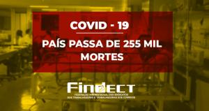 País passa de 255 mil mortes por Covid com contaminação crescendo aceleradamente